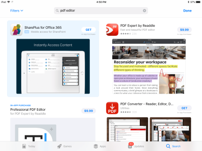 App Store search for PDF editor