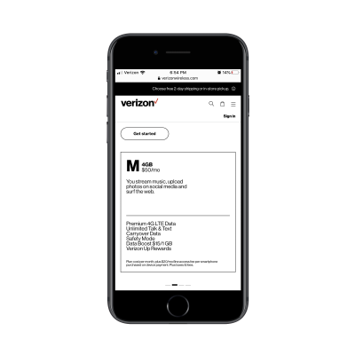 Verizon Wireless 4GB wireless plan details