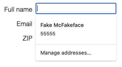Screenshot of autofill popup on Chrome showing only two fields: name and zip, both visible