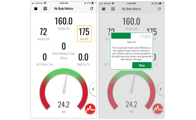 Tooltip explaining maximum heart rate on the MyZone Fitness mobile app.