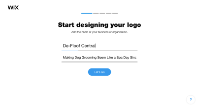 Wix Logo Maker questionnaire - name of business