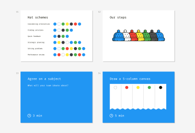 A set of slide samples for conducting a brainstorming session due to the method of Six Thinking Hats