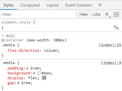 Screenshot of Chrome DevTools' Styles pane showing a CSS rule nested in a @container rule