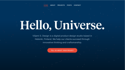 """Screenshot of Viljamisdesign.com with """"Hello, Universe"""" in large type with a pixel starfield behind it"""