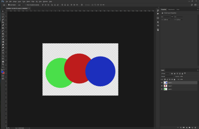 Three different colored circles on a transparent background