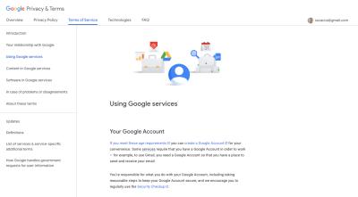 Google Terms of Service page with sticky sidebar navigation