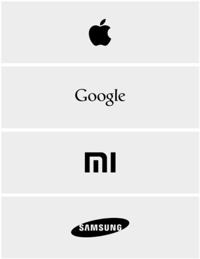Icons of the four major Huawei competitors.