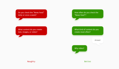 Examples of questions that include answer options and how to fix them