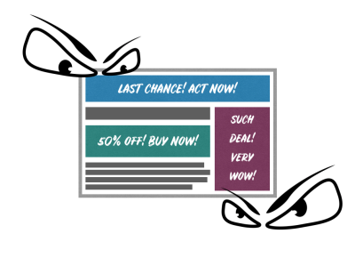 Illustration of web site banners pushing users to act