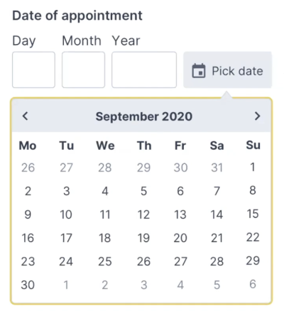 Adam provides a simple <a href='http://nostyle.herokuapp.com/components/memorable-date'>code example</a> for the Memorable date pattern in his <a href='NoStyle Design System]().