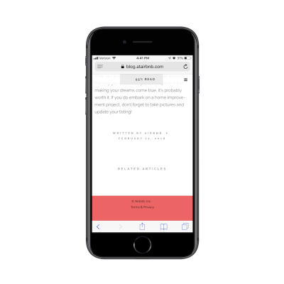 Airbnb mobile blog without sidebar