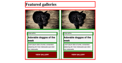Previous example of refactored card component with temporary highlight code added. Components that have been refactored are highlighted with the green outline, while components that may need to be refactored are highlighted with the red outline.
