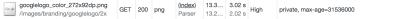 Screenshot of Google logo cache-control setting: private, max-age=31536000