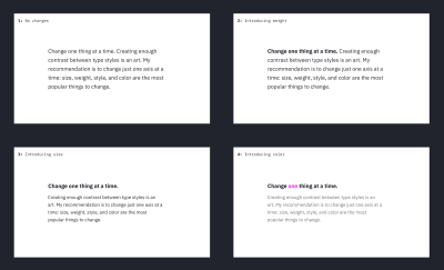 """A grid of four visual explorations of the """"Change one thing at a time"""" text. In each iteration, only one visual axis changes"""