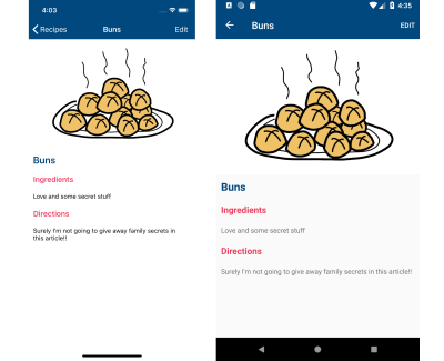 Screenshot of recipe detail screen on iOS and Android