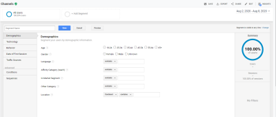 Google Analytics Segments - Segment Options