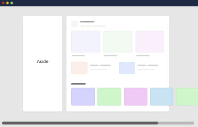 An example of a grid blowout in which content does not fit into the given size or width