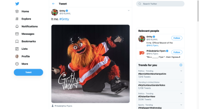 Philadelphia Flyers Gritty mascot