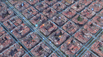 Barcelona's Eixample district shows how architects used a grid to lay out the neighborhood.