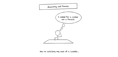 A stickman comic sitting at a desk with a thinking bubble saying that he asked for a number and not a formula