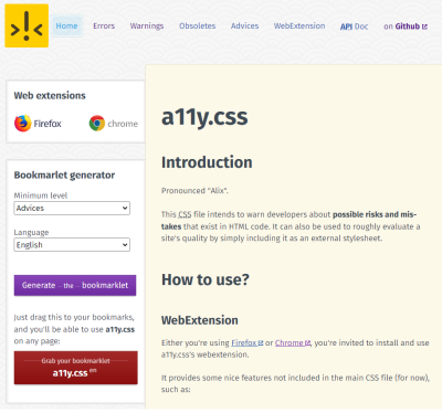 A11y.css homepage showing the different ways it can be installed.