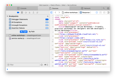 Debugging a mobile web page with Safari Inspector