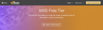 The Amazon Web Services sign up page, which includes a generous free tier, enabling our project to be entirely free.