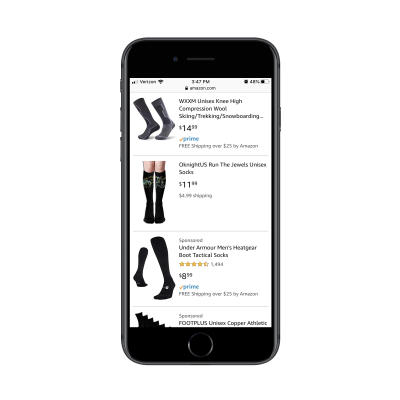 Amazon mobile search with organic and paid products