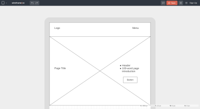 Wireframe.cc wireframe for mobile page layout