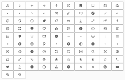 Grid of icons including stars, a shopping cart, and a snowflake