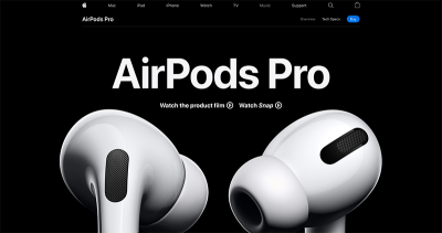 Screenshot of the Airpods Pro site without reduced motion with a large closeup image of a pair of Airpods
