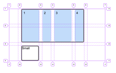 A grid with the Firefox grid inspector showing the lines