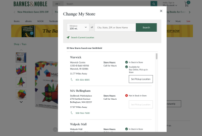 Barnes & Noble 'Change My Store' - location selection