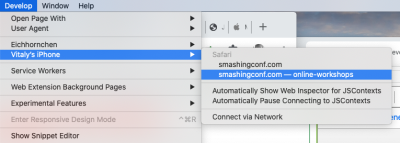 """Safari DevTools' """"Audit"""" panel, with a series of small automated tests"""