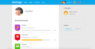 Gamification in UI: Duolingo