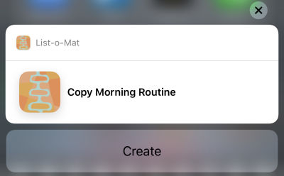 Screenshot of the activated shortcut