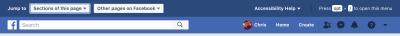 Facebook hidden menu exposing accessibility options
