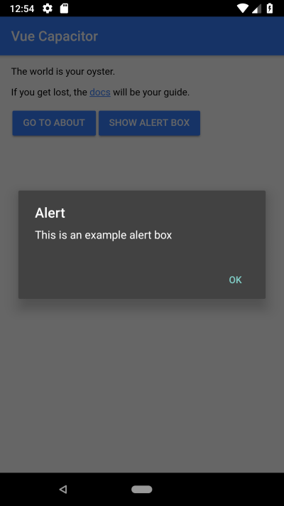 Capacitor native modal box