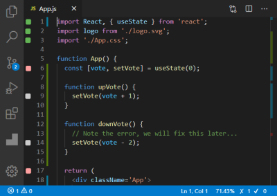 A screenshot of how the initital test is shown to have failed inside the App.test.js file