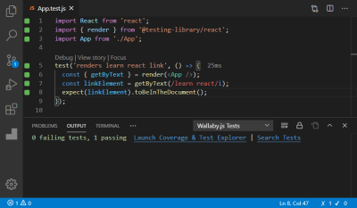 A screenshot of the App.test.js file opened in an editor showing all tests passed in the Output tab