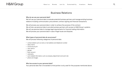 H&M's privacy page — formatted like corporate services page