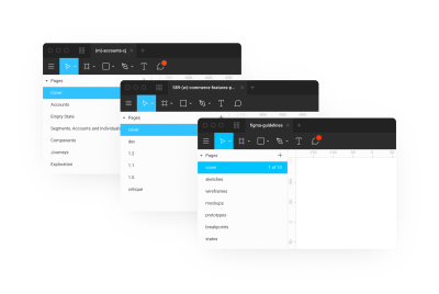 Two screenshots showing different ways to name Figma pages