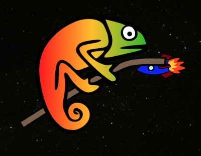In dark mode + reduced motion, Karma Chameleon is in space with a stationary blue rocket in the background. In both environments, her colors and eyes are also stationary, as the original SVG animation is completely removed