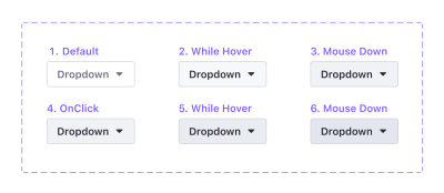 Six different dropdown buttons showing the color changes for each state.