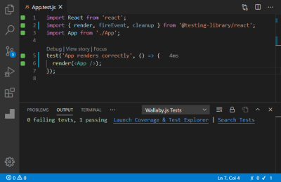 A screenshot of the App.test.js file opened in an editor showing green indicators