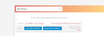 Generic instant search with feedback and common call-to-actions