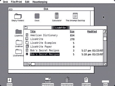 Examples of icons and GUI used on Apple Lisa.