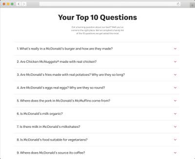 McDonald's FAQs