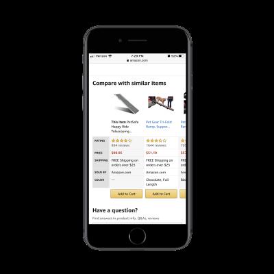 Amazon comparison table