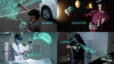 Set of images of man with haptic VR gloves